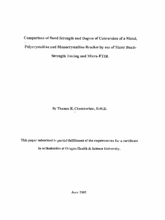 Comparison of bond strength and degree of conversion of a